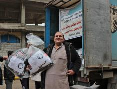 A man with MCC relief supplies